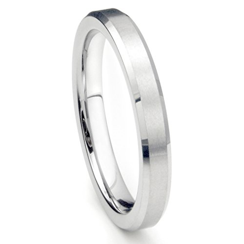 4MM Sterling Silver Brush Finish Beveled Tarnish Resistant Comfort Fit Wedding Band Ring Sz 9 ()