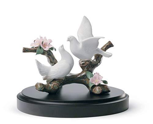 Lladro Doves On A Cherry Tree Figurine