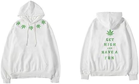 YDMZMS Herren Hoodie Gestickte Unkraut-Blatt-dünne mit Kapuze Sweatshirts Hipster Pullover Hoodies Wear Jumper Tops XL Weiß