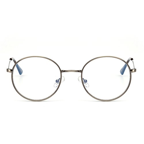 Retro Round Computer Reading Glasses Metal Circle Frame Gaming Eyeglasses Anti Blue Light Lens for Digital Screens UV400 Protection (Silver/Clear) ()