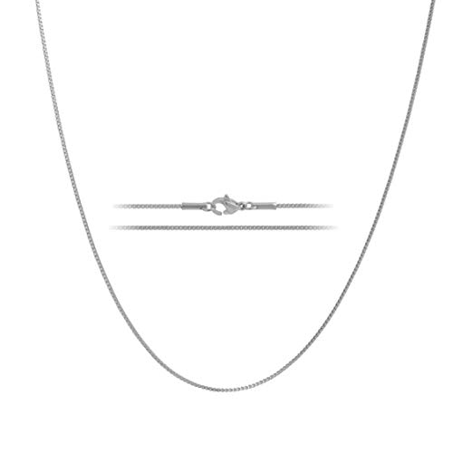 (MAJU Designers 24K White Gold Plated Stainless Steel Box Chain Necklace 1.2MM, 20