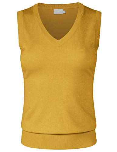 JSCEND Women's Solid Basic V-Neck Sleeveless Soft Stretch Pullover Sweater Vest Top Mustard ()