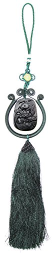 Handmade Obsidian Apache Tears Stone Jewelry Car Rear View Mirror Amulet Hanging Koi Fish Lotus Feng Shui Chinese Lucky Knot Tassels