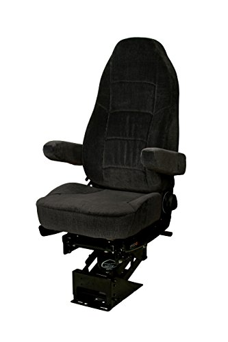 - Heritage Silver Air-ride Seat | Adjustable Truck Seat - Black Microfibres