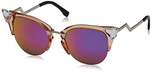 Fendi Women's Iridia Crystal Corner Sunglasses, Trans Print Peach/Multi Pink, One Size