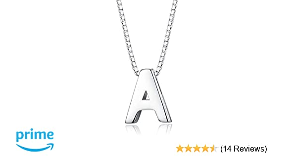 85c8930f629 Tiny Initial Letter Pendant Necklace Men Women 925 Sterling Silver A-Z  Charm Necklace Alphabet Name Jewelry