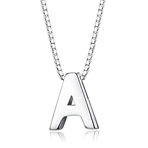 Sllaiss Tiny Initial Letter Pendant Necklace Men Women 925 Sterling Silver A-Z Charm Necklace Alphabet Name Jewelry