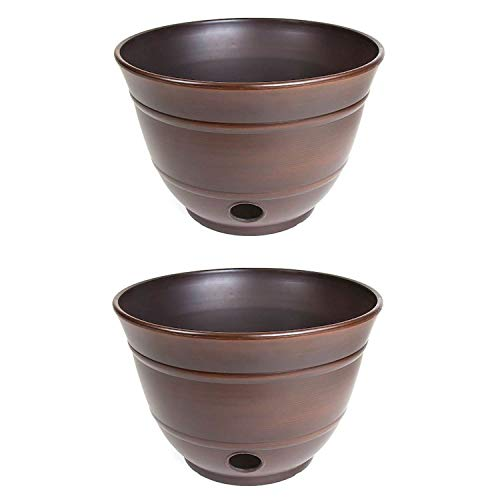 Liberty Garden Banded High Density Resin Hose Holder Pot with Drainage (2 Pack)