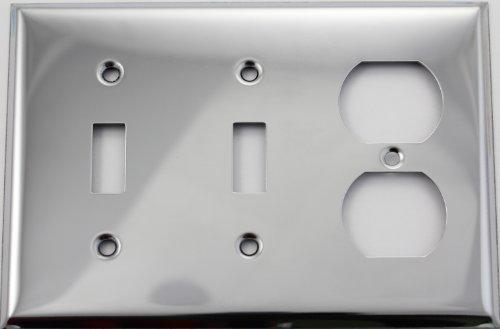 Polished Chrome Three Gang Wall Plate - Two Toggle Switches One Duplex (Chrome Toggle Wall Plate)