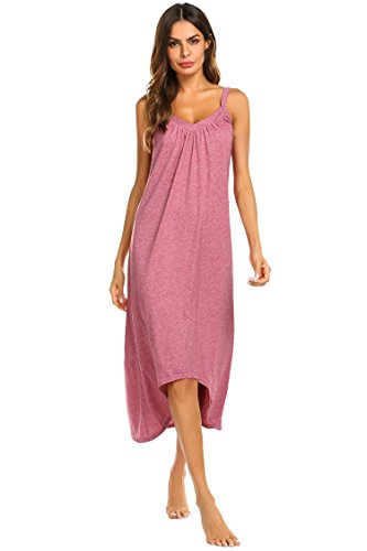 - Ekouaer Womens Sleeveless Long Nightgown Summer Slip Night Dress Cotton Sleepshirt Chemise, A-red_6696, Medium