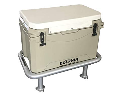 Dolphin Fishing Boat Leaning Post Ice Chest Rack and Seat Cooler. Anodized Aluminum Frame, 85QT (80L) Rotomold Double Walled Ice Chest/Dry Box with Snap On Seat Cushion- Cooler Dim: 25.6