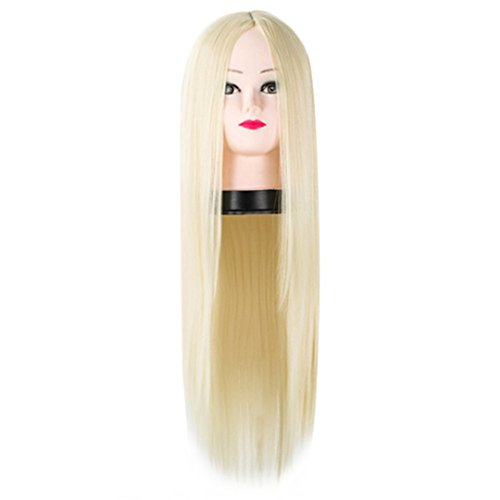 Straight Hair Synthetic Heat Resistant Fiber Middle Part Costume Cos-Play Halloween Carnival Party Long Women Wig Blonde 26inches ()