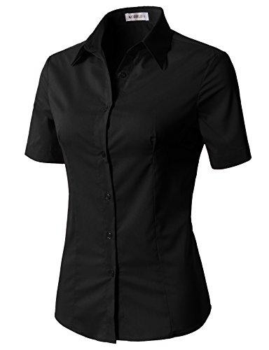 (CLOVERY Women's Wrinkle-Free Short-Sleeve Slim Fit Button Down Shirt Black M)