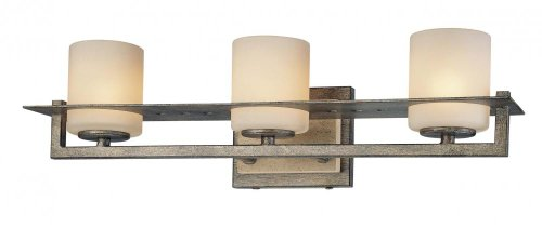(Minka Lavery 6463-273 Compositions 3 Light Glass Bath Vanity Lighting, Aged Patina Iron Finish)