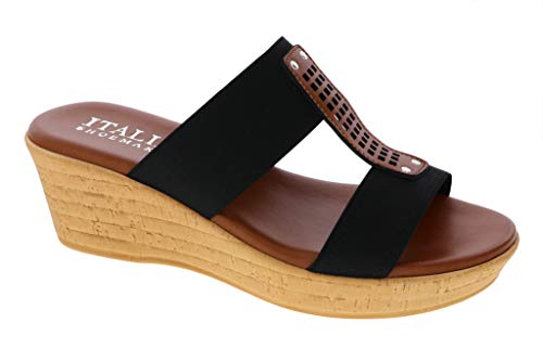 (ITALIAN Shoemakers Womens Bello Wedge Sandal (8.5 M US, Black))