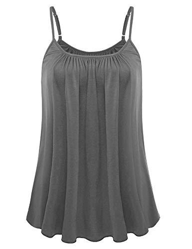 SUNAELIA Pleated Women Tank Tops Summer Tops Tuni Crochet Tank Top Strappy Cami Shirt Solid Sleeveless Camisole Tee