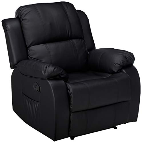 Leather Ergonomic Recliner - Merax Barwick PU Heated Massage Recliner Sofa Ergonomic Lounge with 8 Vibration Motors, (Black)