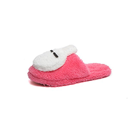 Pantofole Invernali Calde Delle Donne Di Giy Womens Pantofole Sveglie Del Coniglio Del Fumetto, Pantofole Domestiche Molli Antiscivolo Dellinterno Rosse