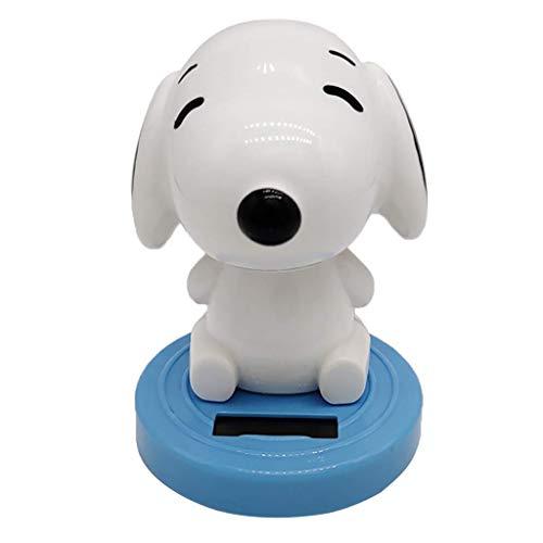 KODORIA Solar Powered Toy Cartoon Puppy Dog Nodding Head Figure Doll Home Office Car Decoration - Blue