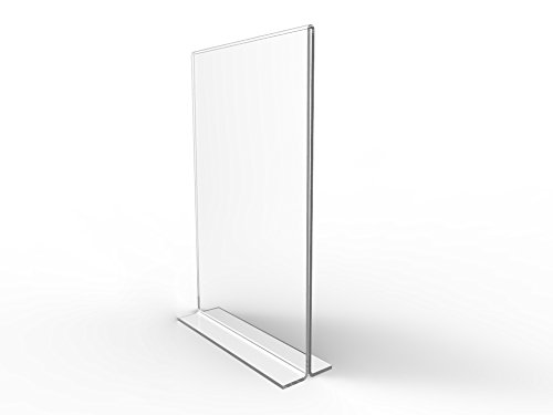 "FixtureDisplays 12PK 5.5 x 8.5"" Clear Acrylic Sign Holder for Tabletops, Vertical Table Tent Frame Photo Sign Menu, Bottom Insert 11193-2-5.5X8.5-12PK-NPF"