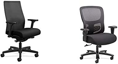 HON Ignition 2.0 Mid-Back Adjustable Lumbar Work Mesh Computer Chair Black Fabric Sadie Big and Tall Office Computer Chair
