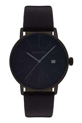 Gigandet Men's Quartz Watch Minimalism Analog Leather Strap Black Gray G42-004