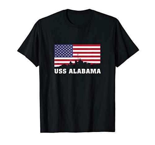 - USS Alabama BB-60 Battleship T-Shirt Gift USA Flag Tee