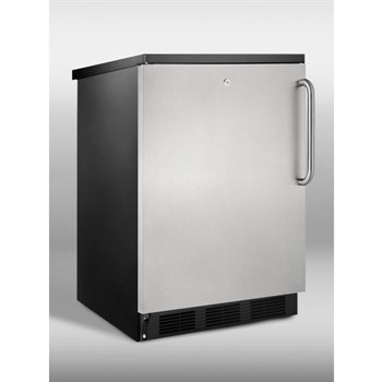 Summit Commercial Series: FF7LBLSSTB 5.5 cu. ft. Compact Refrigerator with Adjustable Glass Shelves, Deep Shelf Space, Interior Light, Door Lock and Commercially Approved