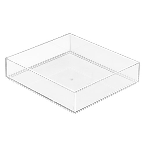 InterDesign Clarity Cosmetic Drawer Organizer for Vanity Cabinet to Hold Makeup, Beauty Products - 8' x 8' x 2', Clear