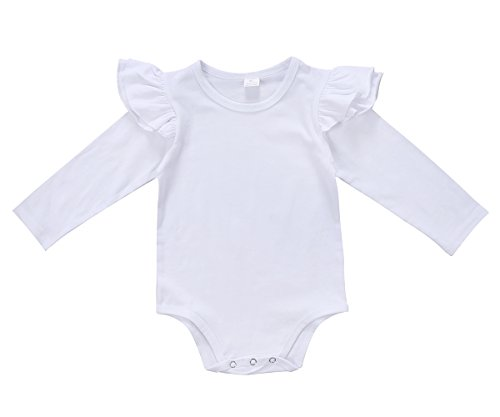White Ruffle Sleeve (Magical Baby Infant Baby Girls Long Sleeve Bodysuit Romper Ruffle Fly Sleeve Triangle Cotton Jumpsuit (90(9-12M), Solid White))