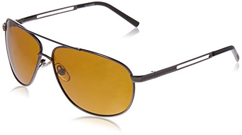 Foster Grant Men's Pixel Hd Polarized Aviator Sunglasses, Gunmetal, 150 mm (Grant Polarized Foster Sunglasses)