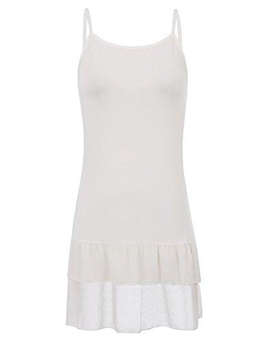 Kate Kasin Soft House Wear Crochet Chiffon Layered Dress Tee(S,White (Crochet Trim Cami)