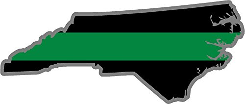 (OLS Studios Magnet North Carolina NC State Thin Green Line Military Border Patrol Decal Sticker V Magnetic Vinyl Sticks to Any Metal Fridge, car, Signs)