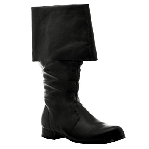1 inch Heel Mens Sizes Cuffed Pirate Knee Boot Black or Brown Size: Large Colors: (Pirate Wench Boots)