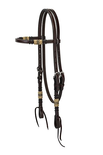 (Turquoise Cross Rawhide Accented Browband Headstall)