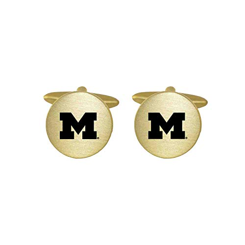 Cufflinks Wolverines Michigan - Brushed Metal Cuff Links-University of Michigan-Gold