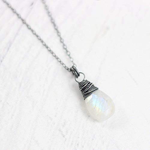 Rainbow Moonstone Oxidized Sterling Silver Stone Teardrop Necklace - 16