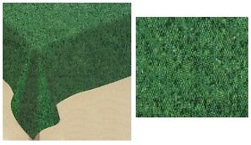 Amscan Baseball Fun Birthday Party Grass Flannel-Backed Vinyl Table Cover (1 Piece), Green, 14.75 x 8.5