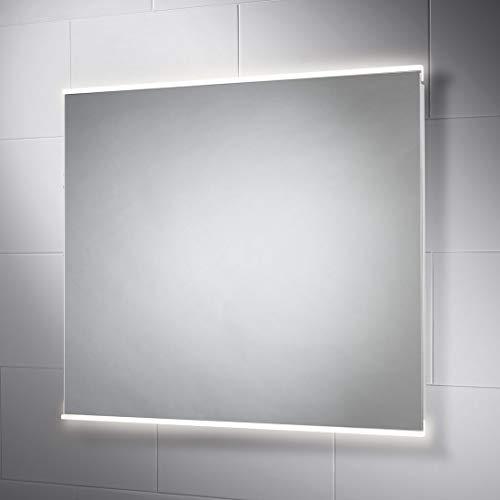 Pebble Grey 28 x 32 Inch Bathroom Mirror with LED Illuminated Lights -