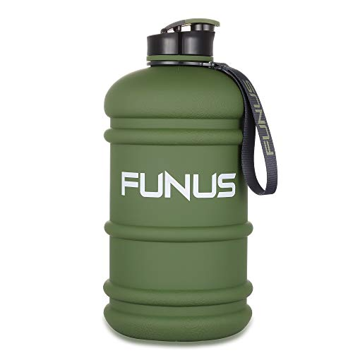Hydra Jug - FUNUS Big Water Bottle 1.3L-2.2L Large Water Bottle BPA Free Leak Proof Reusable Odorless Big Capacity Water Jug for Men Women Fitness Gym Outdoor Climbing Gym Water Bottle (2.2L Matte Army Green)
