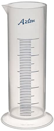 Azlon 537835-1000 Polypropylene Short Form Graduated Cylinder with Printed Graduations, 1000mL Capacity