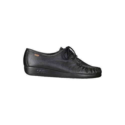 SAS Womens Siesta Leather Low Top Lace Up Fashion Sneakers, Black, Size 9.0