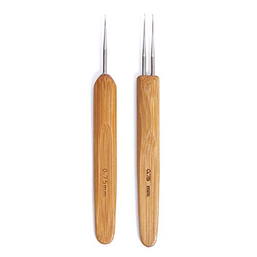 Dreadlock Crochet Hook Soft Touch Steel 0.75mm and Double 0.75mm Two Crochet Hook for Dreads Dreadlock Needle Tool for Braid Craft