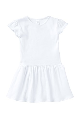 Rabbit Skins Toddler Girls' 100% Cotton Dress (White, 5,6 Toddler)