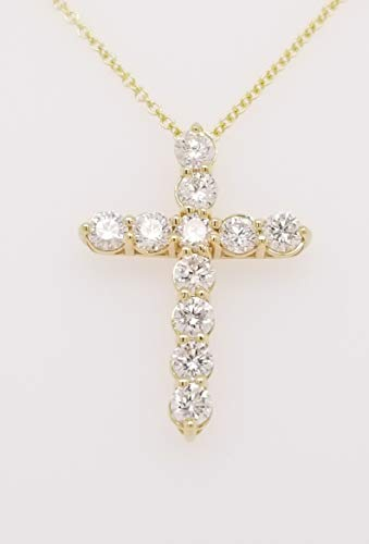 - Round Diamond Cross Pendant Necklace, 14K Gold, Adjustable Chain (G-H Color, SI2-I1 Clarity) (Yellow-Gold, 1.00)