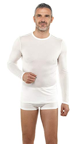 DermaSilk Therapeutic Set 3 Round Neck Shirt Long Sleeves for Man in Silk Fibroin, for Sensitive Skin, Controlling Odors and Sweating. Color White. S (EU Sizes 46-48)