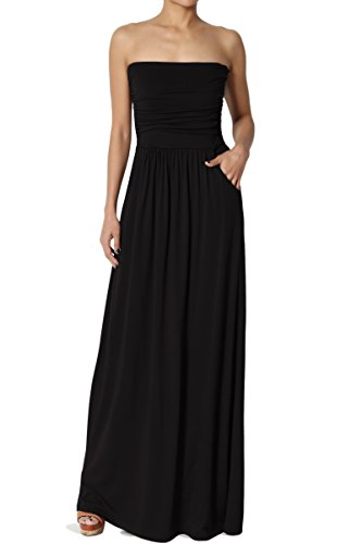 TheMogan Women's Strapless Draped Jersey Pocket Long Maxi Dress Black L