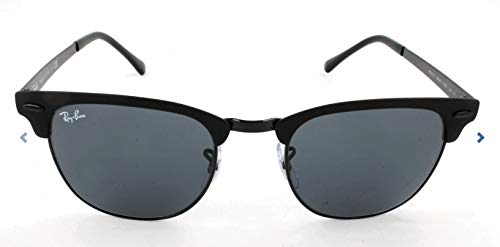 Ray-Ban RB3716 Clubmaster Metal Square Sunglasses, Black On Matte Black/Blue, 51 ()