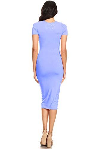 Knit Party Dress Dark Bodycon Solid Blue Women's Basic Hdr00083 Sleeve Stretch Short cyvYyB76W