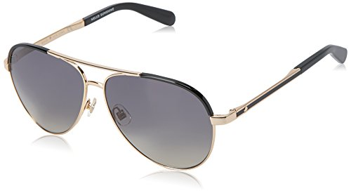 Kate Spade Women's Amarissa Aviator Sunglasses, Gold Black/Dark Gray Shaded, 59 - Shaded Sunglasses